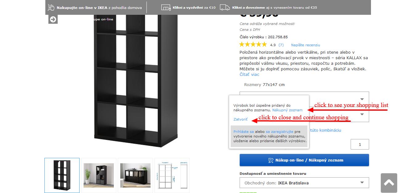 www.manandvan.sk Ikea shopping guide Pop-up window