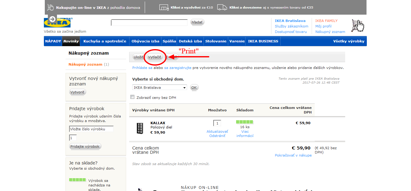 www.manandvan.sk Ikea shopping guide Print button